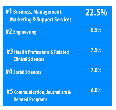 Majors of BTAA Study Abroad students.  Business, Engineering, and Health Professions are top 3 majors.